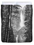 Yosemite Falls Black And White Duvet Cover