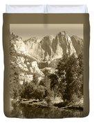 Yosemite Falls Sepia Duvet Cover