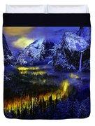 Yosemite Valley At Night Duvet Cover