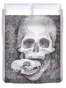 You Are What You Eat Skull Drawing Duvet Cover