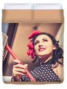 Young 50s Brunette Housewife Holding Red Mop Duvet Cover