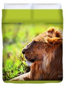 Young Adult Male Lion On Savanna. Safari In Serengeti Duvet Cover