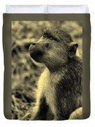 Young Baboon In Black And White Duvet Cover