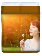 Young Beautiful Woman Blowing A Dandelion In Spring Scenery Duvet Cover