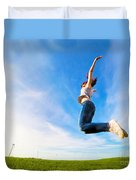Young Beautiful Woman Jumping For Joy Duvet Cover