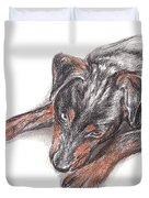 Young Black Dog Portrait Duvet Cover