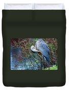 Young Blue Heron Preening Duvet Cover