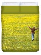 Young Boy Running Through Field Of Duvet Cover