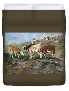 Young Cattle In Tyrol Duvet Cover