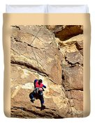 Young Climber In Joshua Tree Np-ca- Duvet Cover