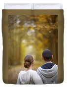 Young Couple Looking Ahead Duvet Cover