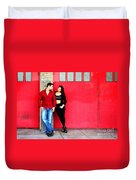 Young Couple Red Doors Duvet Cover