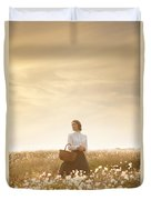 Young Edwardian Woman In A Meadow Duvet Cover