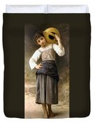 Young Girl Going To The Fountain Duvet Cover