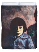Young Girl In Blue Sweater Duvet Cover