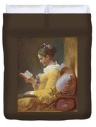 Young Girl Reading Duvet Cover