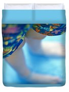 Young Girl Standing In Pool Duvet Cover