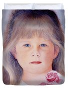 Young Girl With Roses Duvet Cover
