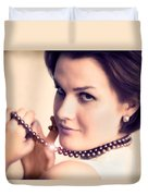 Young Glamour Lady With Gold Necklace Duvet Cover by Michal Bednarek