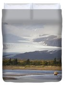 Young Grizzly Fishing At Hallo Bay Duvet Cover