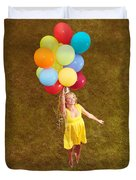 Young Happy Woman Flying On Colorful Helium Balloons Duvet Cover