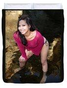 Young Hispanic Woman In Creek Duvet Cover