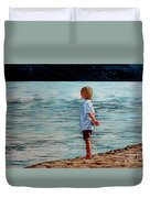 Young Lad By The Shore Duvet Cover
