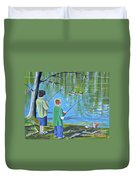 Young Lads Fishing Duvet Cover