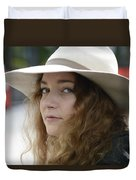 Young Lady With White Hat 1 Duvet Cover