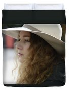 Young Lady With White Hat 2 Duvet Cover