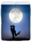 Young Lovers Embracing Before A Full Moon Duvet Cover