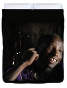 Young Maasai Warrior In The Village Duvet Cover