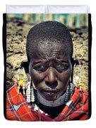 Portrait Of Young Maasai Woman At Ngorongoro Conservation Tanzania Duvet Cover