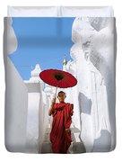 Young Novice Monk Walking On White Pagoda - Myanmar Duvet Cover