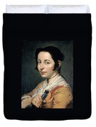 Young Peasant Woman Holding A Wine Flask Duvet Cover