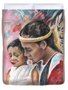 Young Polynesian Mama With Child Duvet Cover
