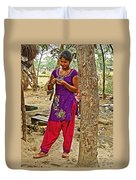 Young Tharu Village Woman In Traditional Nepali Clothing-nepal  Duvet Cover