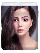 Young Woman Anime Style Beauty Portrait With Beautiful Large Gra Duvet Cover