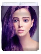Young Woman Anime Style Beauty Portrait With Large Eyes And Purp Duvet Cover