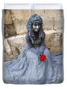Young Woman Busker In Syracusa Sicily Duvet Cover