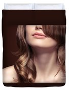 Young Woman Closeup Of Mouth And Neck Duvet Cover