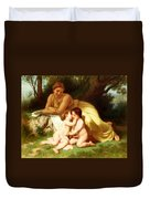 Young Woman Contemplating Two Embracing Children Duvet Cover