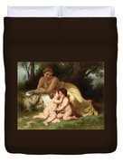 Young Woman Contemplating Two Embracing Children Duvet Cover by William Bouguereau