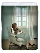 Young Woman In A Chair Duvet Cover