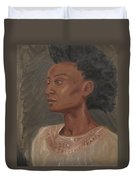 Young Woman With An Afro Duvet Cover