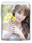 Young Woman With Flowers Duvet Cover by Brandon Tabiolo
