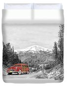 1946 Ford Special Deluxe Woody On Apache Summit Duvet Cover