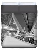 Zakim Bridge Twilight In Boston Bw Duvet Cover