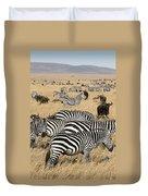 Zebra Migration Maasai Mara Kenya Duvet Cover