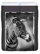 Zebra Profile In Black And White Duvet Cover